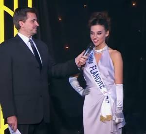 Miss Prestige National 2015, Miss Flandre, aux côtés d'Olivier Minne, qui a présenté cette édition.