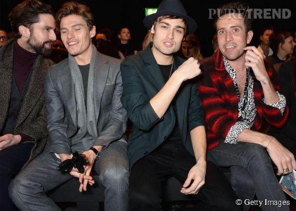 Jack Guinness, Oliver Cheshire, Douglas Booth et Nick Grimshaw en front row du défilé Topman Design Automne-Hiver 2015/2016 à Londres.