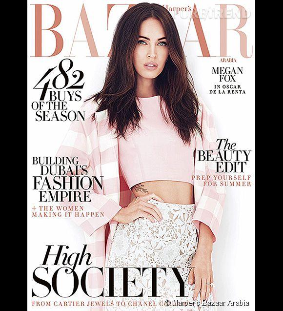 Megan Fox en couverture du numéro d'avril 2015 d'Harper's Bazaar Arabia.