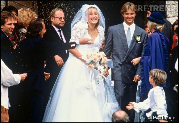 Estelle Lefébure le jour de son mariage avec David Hallyday en 1989.
