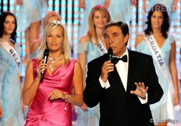 Estelle Lefébure et Jean-Pierre Foucault présentant Miss Europe en 2003.