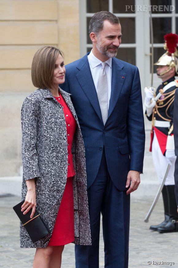 Letizia d'Espagne, ce mercredi 3 juin pour une rencontre avec Manuel Valls et sa femme Anne Gravoin.