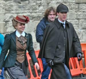 "Benedict Cumberbatch sur le tournage de ""Sherlock Holmes""."
