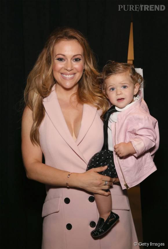 Alyssa Milano et sa petite fille Elizabella au défilé Marissa Webb.