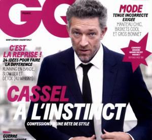 Vincent Cassel en couverture du magazine GQ du mois d'octobre 2015.