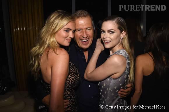 Kate Upton, Mario Testino et Jaime King lors de la soirée de lancement du nouveau parfum Gold de Michael Kors à New York le 13 septembre 2015.