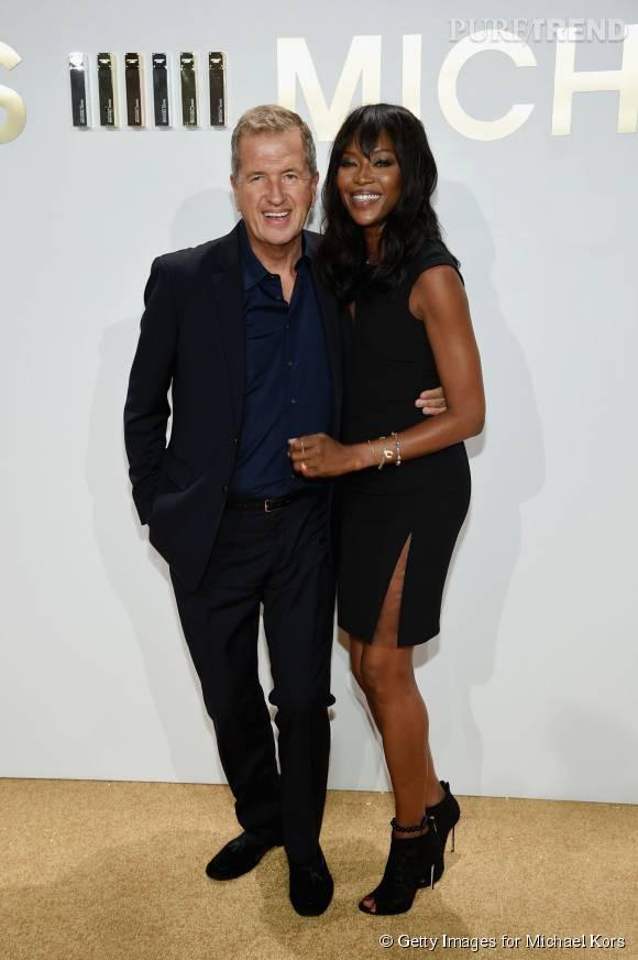 Mario Testino et Naomi Campbell lors de la soirée de lancement du nouveau parfum Gold de Michael Kors à New York le 13 septembre 2015.