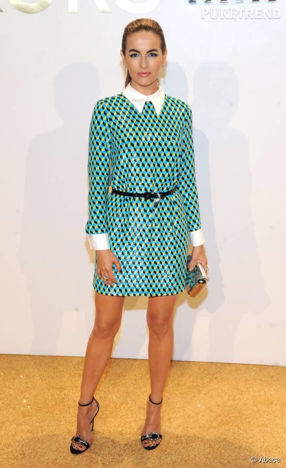 Camilla Belle dans une robe Michael Kors Collection Resort 2016 lors de la soirée de lancement du nouveau parfum Gold de Michael Kors à New York le 13 septembre 2015.