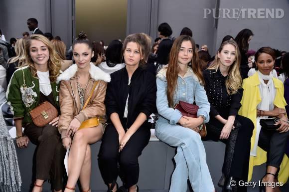 Alice Isaaz, Lola Le Lann, Selah Sue, Flo Morrissey, Dylan Penn et Jada Pinkett Smith en front row du défilé Chloé Printemps-Été 2016.