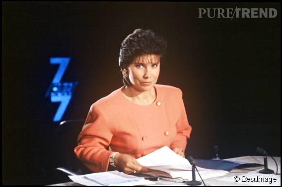 Anne Sinclair en 1991 avec son habituelle veste à épaulettes...