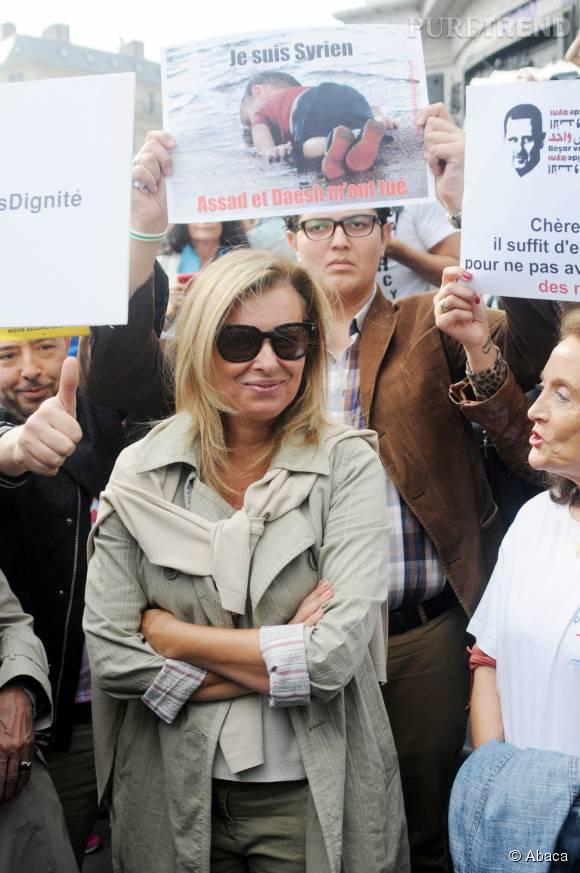Valérie Trierweiler lors d'une manifestation en faveur des réfugiés, le 5 septembre 2015.