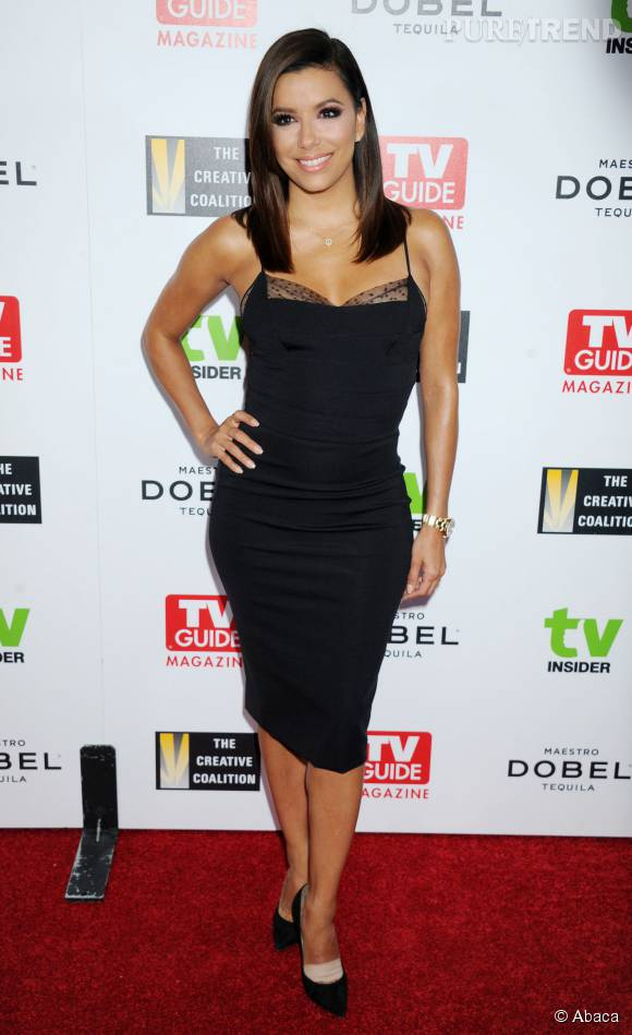 Eva Longoria super sexy dans sa robe noire moulante.