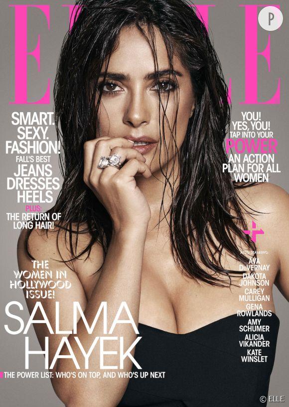 Salma Hayek en couverture de ELLE US pour le numéro spécial Women in Hollywood de novembre 2015.