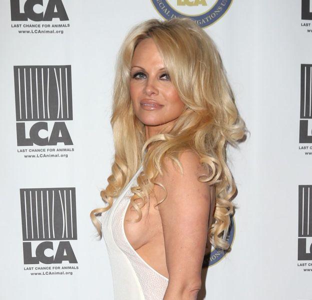 Pamela Anderson aime arborer son décolleté vertigineux.