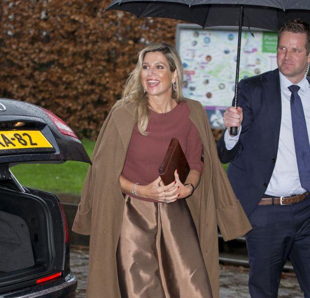 La reine Maxima des Pays-Bas lors de la rencontre avec la Commission européenne le 7 janvier 2016 au Palais Royal d'Amsterdam.