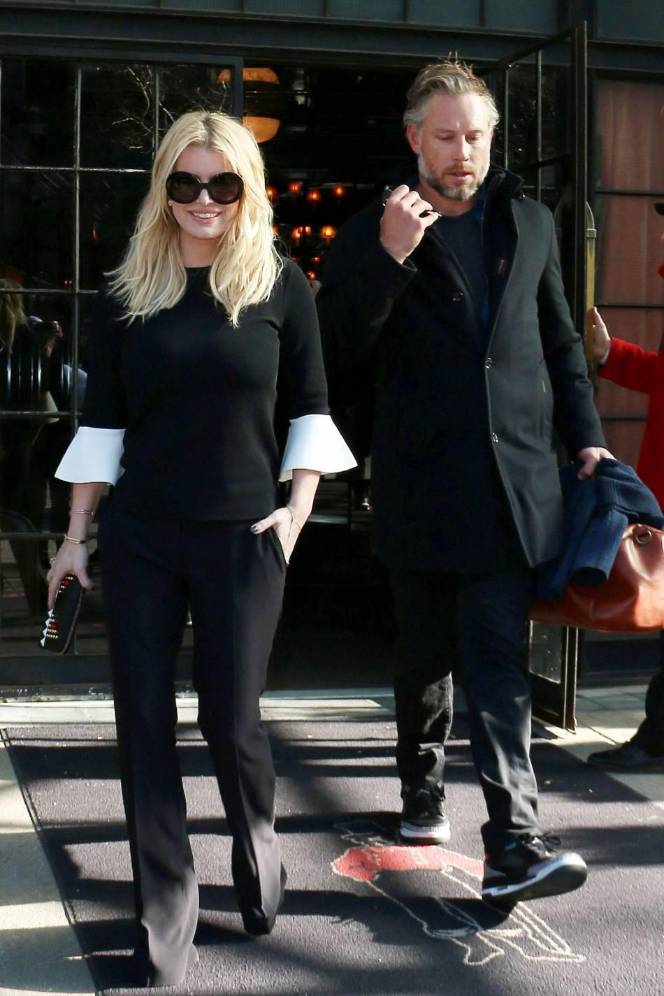 Jessica Simpson aperçue dans les rues de New York ce mercredi 13 janvier 2016.