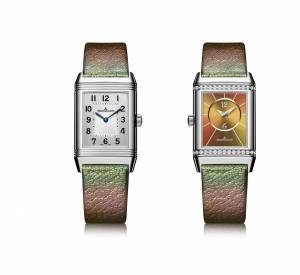 """Montre """"Reverso Classic Duetto"""", mouvement mécanique à remontage automatique. Boîtier en acier et diamants, bracelet en cuir."""