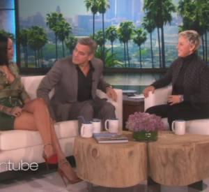 """Rihanna et George Clooney sur le plateau de l'émission """"The Ellen DeGeneres Show""""."""