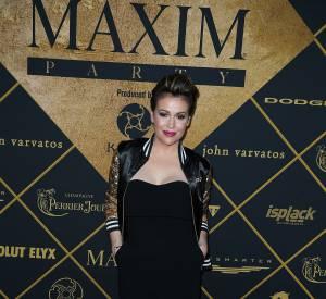 Alyssa Milano lors de la soirée Maxim du Super Bowl 2016.