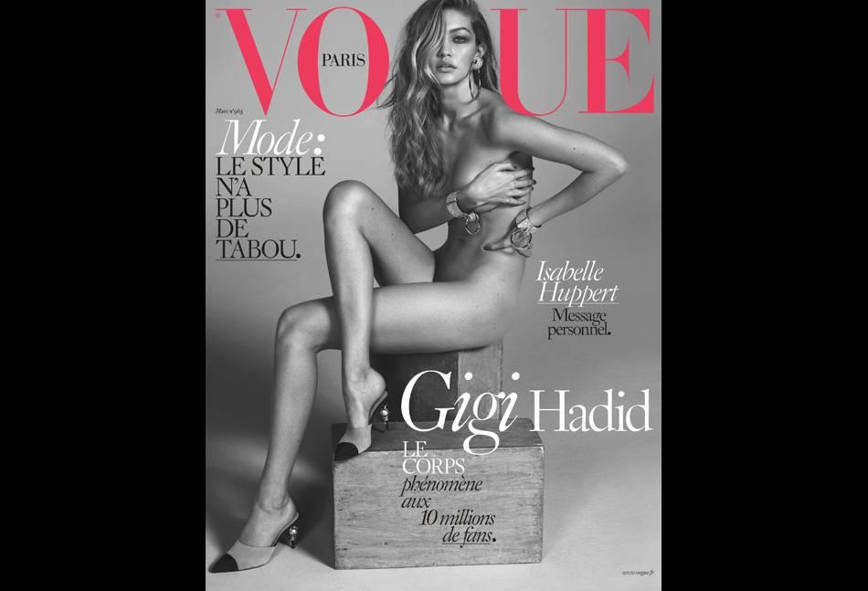 Gigi Hadid se déshabille devant l'objectif de Mert & Marcus pour Vogue Paris, numéro de mars 2016...