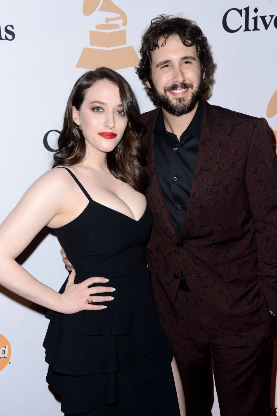 """Kat Dennings et Josh Groban au gala """"Pre-GRAMMY and Salute to Industry Icons honoring Irving Azoff"""" au Beverly Hilton Hotel à Los Angeles le 14 février 2016."""