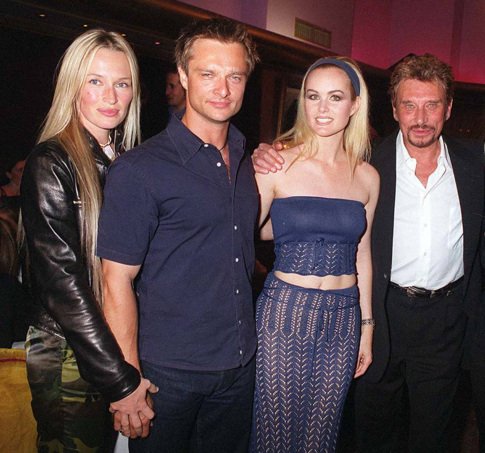 David, Estelle, Laeticia et Johnny Hallyday en 1999.