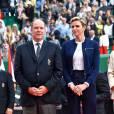 Charlène de Monaco et Albert, couple princier fou de sport pour assister à la finale d'un tournoi de Tennis à Monaco, le 17 avril 2016.