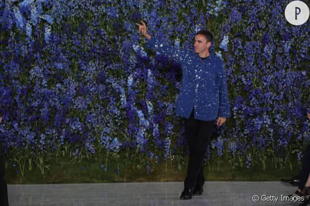 Raf Simons pour son dernier défilé avec Dior.