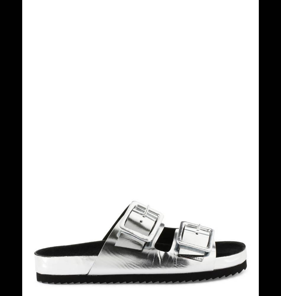 Sandales argentées, Cosmoparis, 100€.