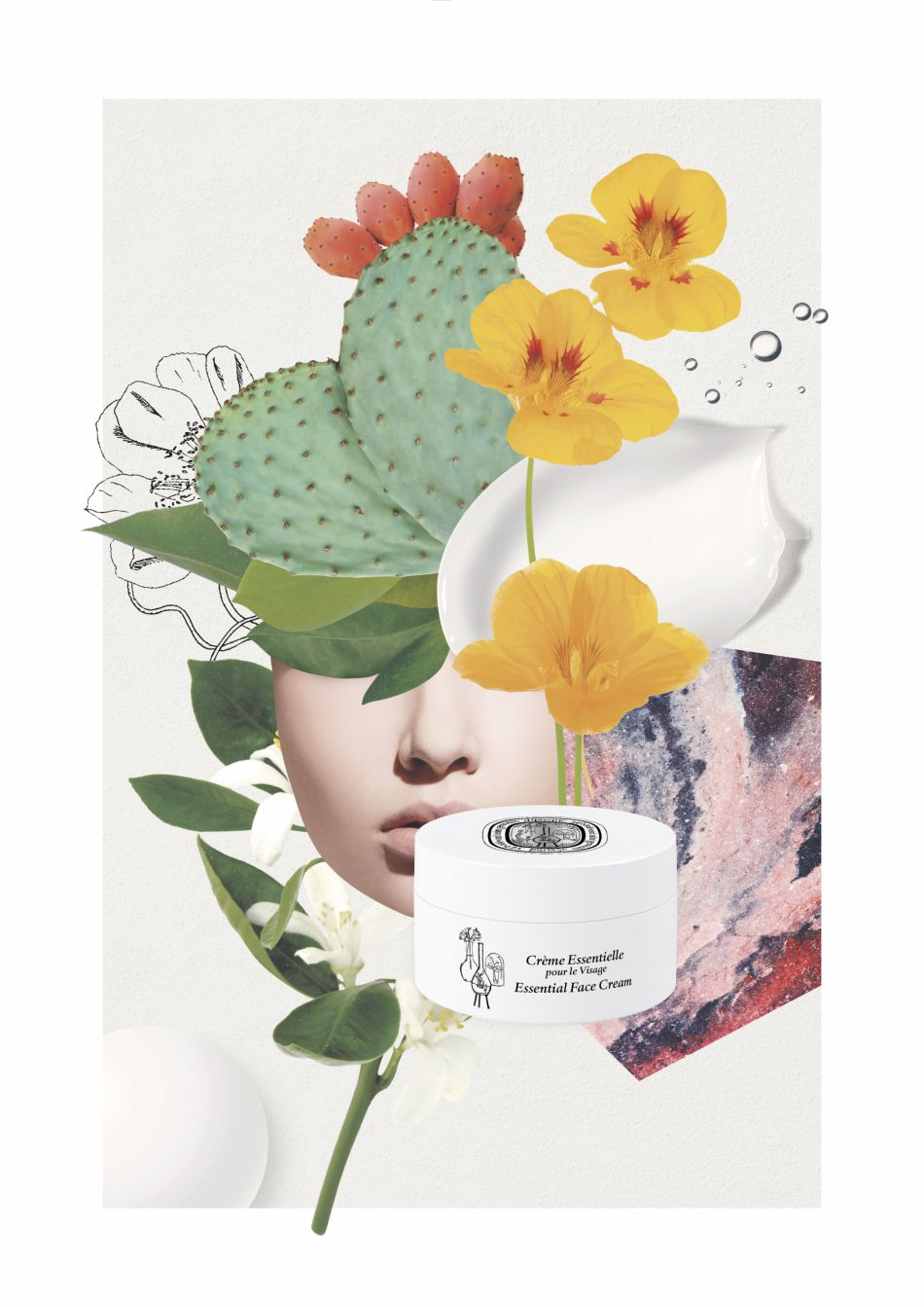La crème essentielle pour le visage, une texture douce et un parfum ennivrant.