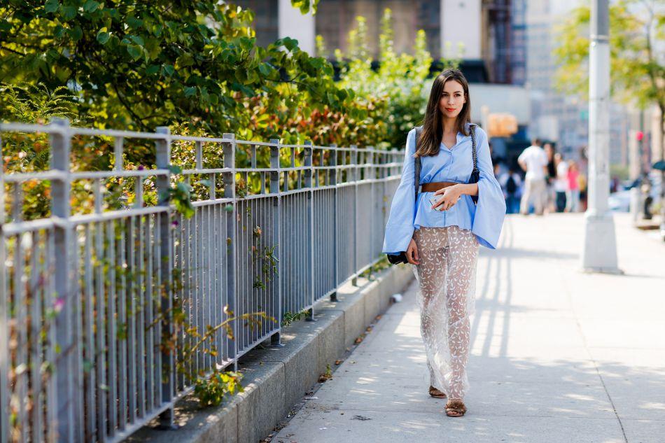 Chemise ceinturée et jupe ajourée : le top du street style new-yorkais.
