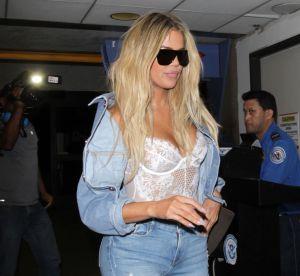 Khloé Kardashian sexy mais vulgaire en corset à l'aéroport