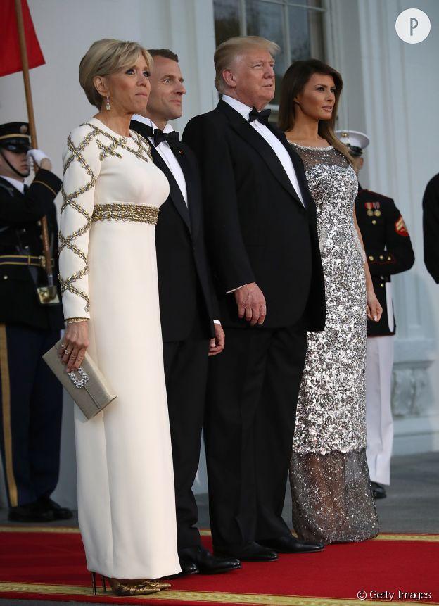 Brigitte Macron en Louis Vuitton à la Maison Blanche.