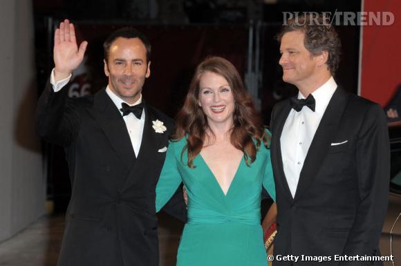 Tom Ford, Julianne Moore et Colin Firth à la Mostra de Venise