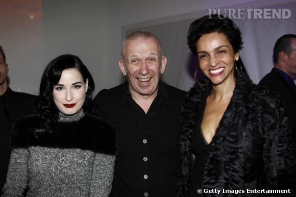 Diat Von Teese, Jean-Paul Gaultier et Farida Khelfa au défilé Jean-Paul Gaultier