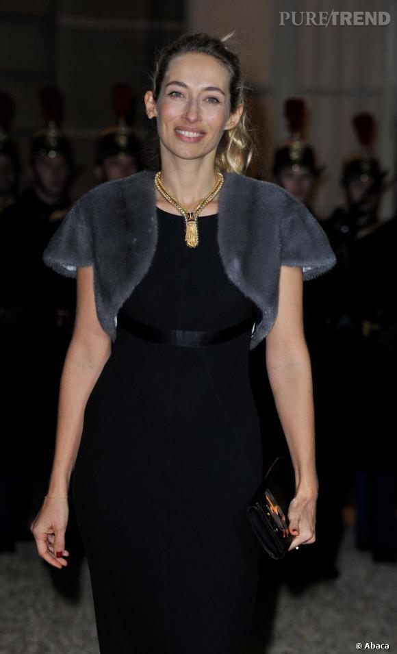 Alexandra Golovanoff lors d'un dîner à l'Elysée organisé en l'honneur du président russe.