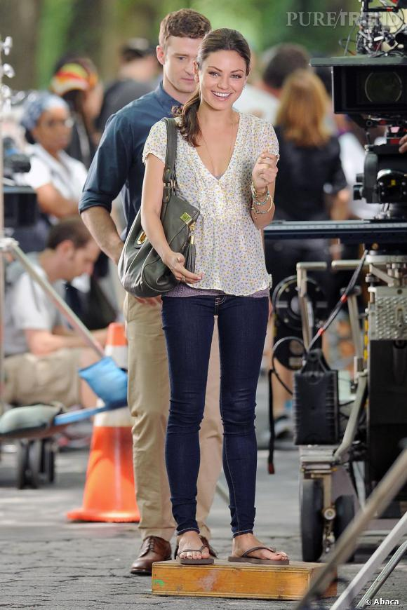 Mila Kunis sur le tournage de Friends With Benefits avec Justin Timberlake.