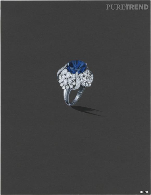 Harry Winston       Croquis d'un modèle inspiré des archives de la maison. Bague tulipe saphir taille coussin de 18.28 carats; 96 diamants - 8.50 carats. Monture platine.