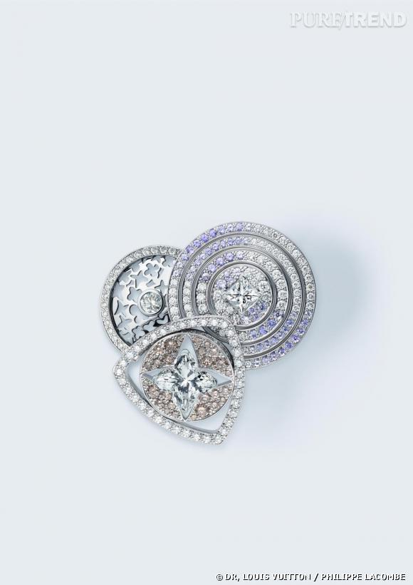 """Louis Vuitton      Bague """"Rock"""" 3 éléments en or blanc, diamants brun et blanc et saphir rose."""