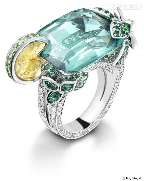 """Piaget       Bague cocktail """"Mojito"""", en or blanc 18 carats sertie de 182 diamants taille brillant (env. 1.57 ct), 1 tourmaline verte taille coussin (env. 24.56 ct), 1 citrine sculptée en forme de citron (env. 3 ct), 16 tsavorites taille ronde (env. 1.56 ct) ,120 émeraudes taille ronde (env. 1.01 ct), 8 émeraudes taille marquise (env. 0.61ct)"""