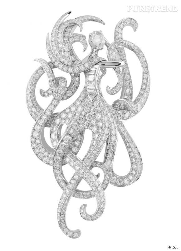 Van Cleef & Arpels       Clip Olindias en or blanc, diamants ronds, baguette et taille rose.