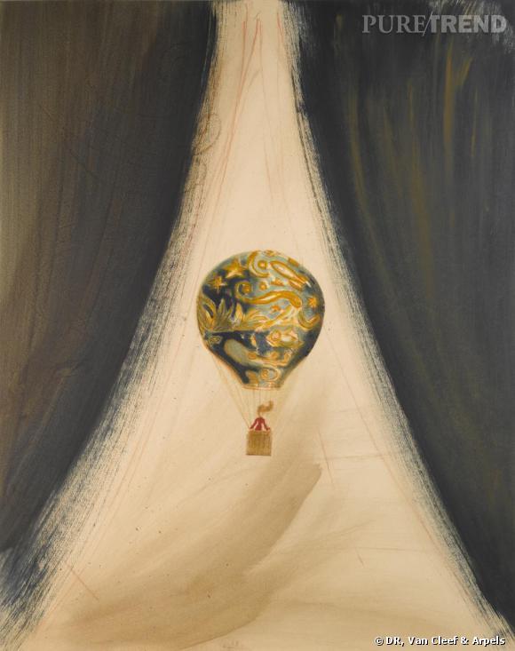 Van Cleef & Arpels       Dessin Ruben Alterio, comme un avant goût des peintures qui orneront l'espace Van Cleef & Arpels.