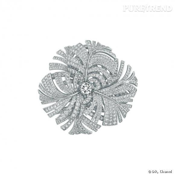 """Chanel Joaillerie       Broche """"Panache"""" en or blanc 18 carats, serti d'1 diamant taille rond de 2 carats, 980 diamants taille brillant pour un poids total de 24 carats et 268 perles d'Akoya de 6mm à 6,5mm de diamètre."""
