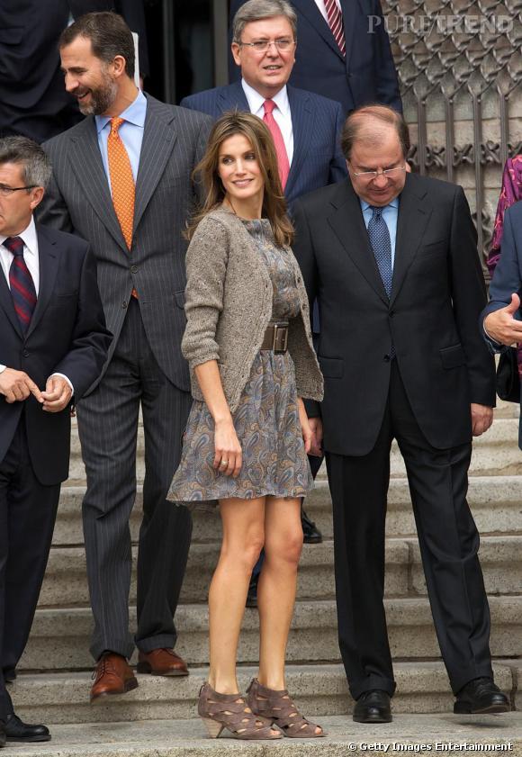 Letizia Ortiz lors de l'inauguration d'une exposition à Leon en Espagne