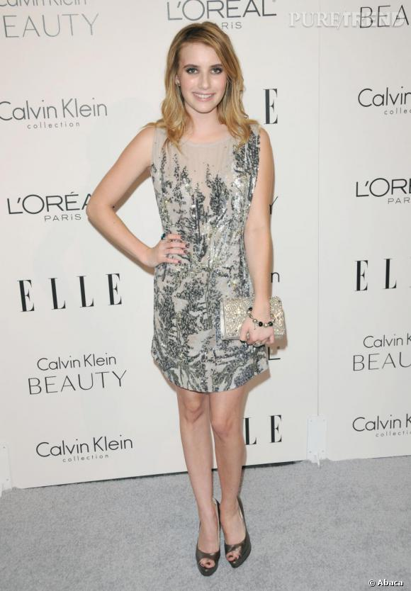 Emma Roberts en robe Jenny Packham Printemps/Eté 2011.