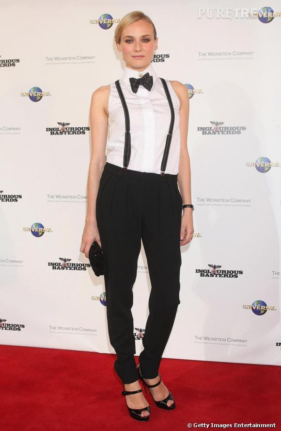 Comme Diane Kruger , on mise sur le potentiel sexy des bretelles et du noeud pap'.