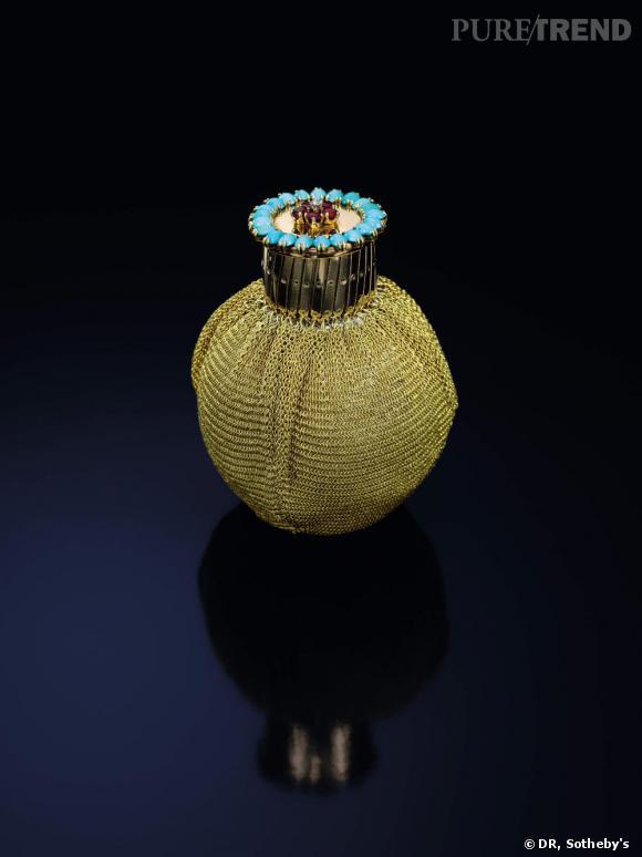 Sac en or, rubis, turquoise et diamant. Van Cleef & Arpels, 1942.