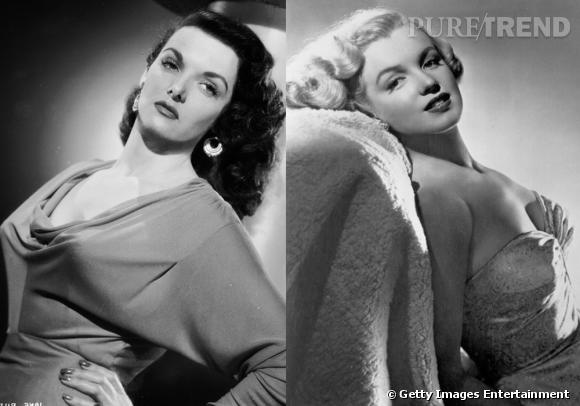 Blondes Vs Brunes Marilyn Monroe et Jane Russell s'affrontent dans Les Hommes préfèrent les blondes en 1953.