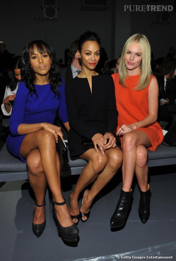 Zoe Saldana bien entourée de Kerry Washington et Kate Bosworth, chez Calvin Klein.
