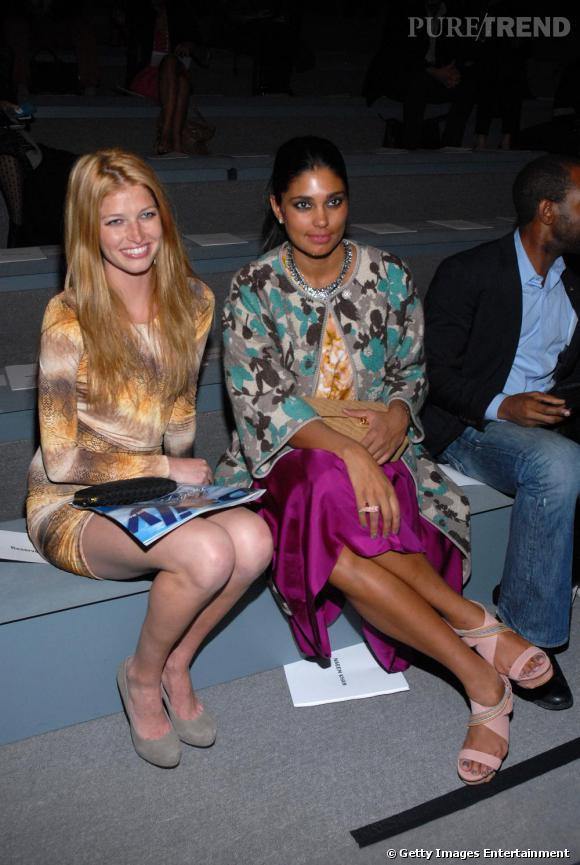 Front row coloré chez Naeem Khan avec Heide Lindgren et la créatrice Rachel Roy.